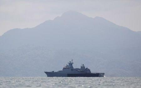 A Malaysian navy vessel patrols waters near Langkawi island