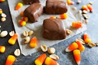 """<p>Yes, this is homemade Halloween candy made using, er, store-bought Halloween candy. It's deliciously confusing <em>and</em> confusingly delicious.</p><p><strong><a href=""""https://thepioneerwoman.com/food-and-friends/homemade-butterfingers"""" rel=""""nofollow noopener"""" target=""""_blank"""" data-ylk=""""slk:Get the recipe"""" class=""""link rapid-noclick-resp"""">Get the recipe</a>.</strong></p><p><strong><a class=""""link rapid-noclick-resp"""" href=""""https://go.redirectingat.com?id=74968X1596630&url=https%3A%2F%2Fwww.walmart.com%2Fip%2FThe-Pioneer-Woman-Spring-10-Piece-Baking-Prep-Set-Teal%2F269954471&sref=https%3A%2F%2Fwww.thepioneerwoman.com%2Ffood-cooking%2Fmeals-menus%2Fg32110899%2Fbest-halloween-desserts%2F"""" rel=""""nofollow noopener"""" target=""""_blank"""" data-ylk=""""slk:SHOP BAKING TOOLS"""">SHOP BAKING TOOLS</a><br></strong></p>"""
