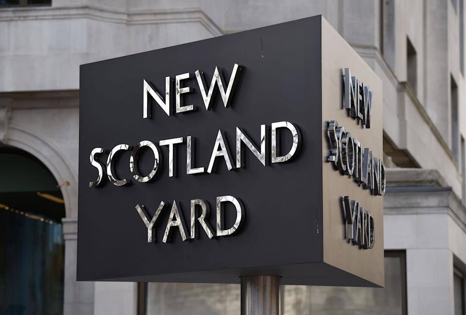 File photo dated 3/2/2017 of the New Scotland Yard sign outside the headquarters of the Metropolitan Police. The Metropolitan Police are investigating whether Wayne Couzens committed more crimes before he kidnapped, raped and murdered Sarah Everard as the force vowed to make the streets safer for women and girls. Issue date: Friday October 1, 2021.