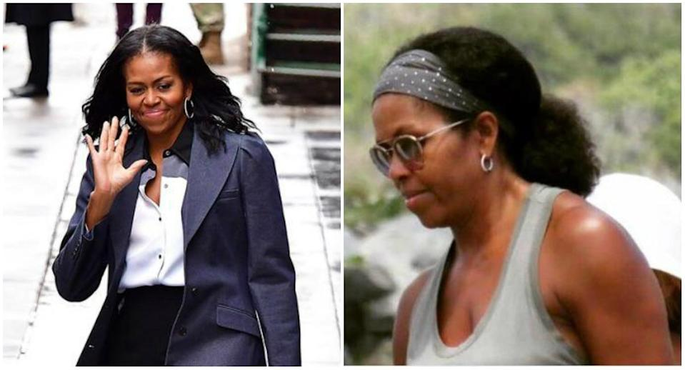 <p><b>When: Photo shared on Twitter April 2, 2017 </b><br>A photo of Michelle Obama rocking her natural hair has surfaced on Twitter and the Internet has gone wild, proving Mrs. Obama's cultural influence is just as powerful today as it was when she left the White House. Her tresses were regularly flat-ironed silky straight while she was FLOTUS, so it was nice to see her locks in its natural texture, without a chemical relaxer or heat manipulation. <i> (Photos: Getty (L)/Twitter: shared by @meagnacarta (R) </i> </p>