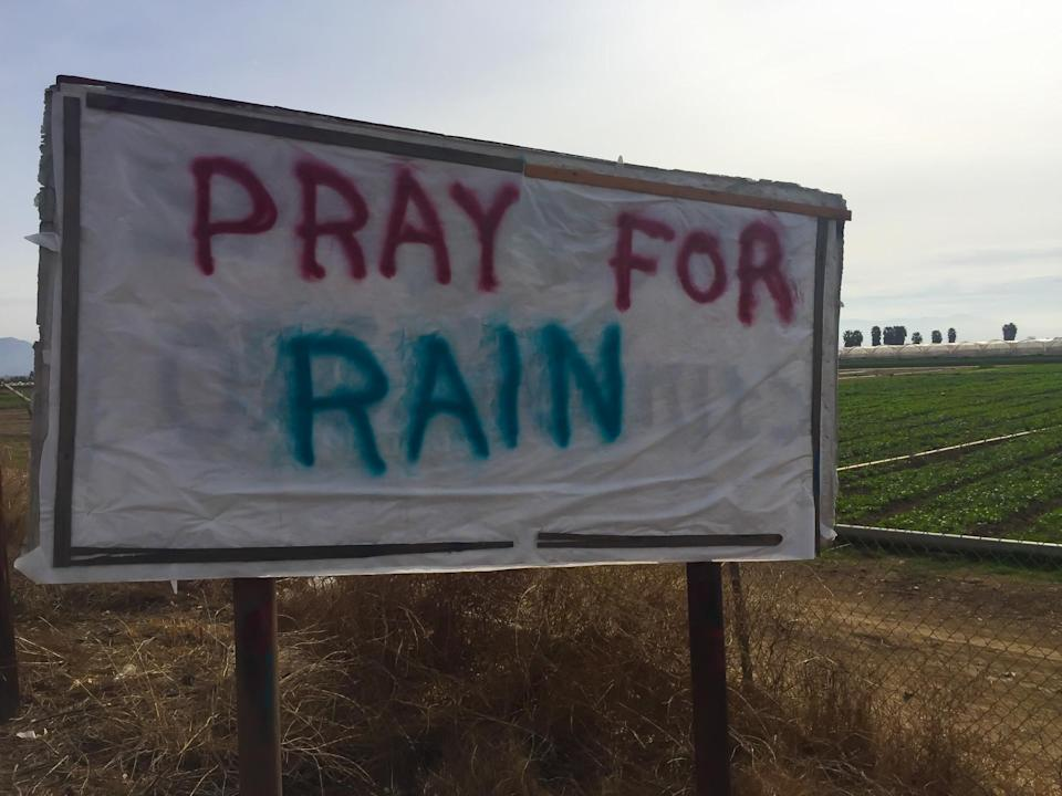 drought pray for rain sign in california (Patricia Marroquin/ Moment/ Getty Images)