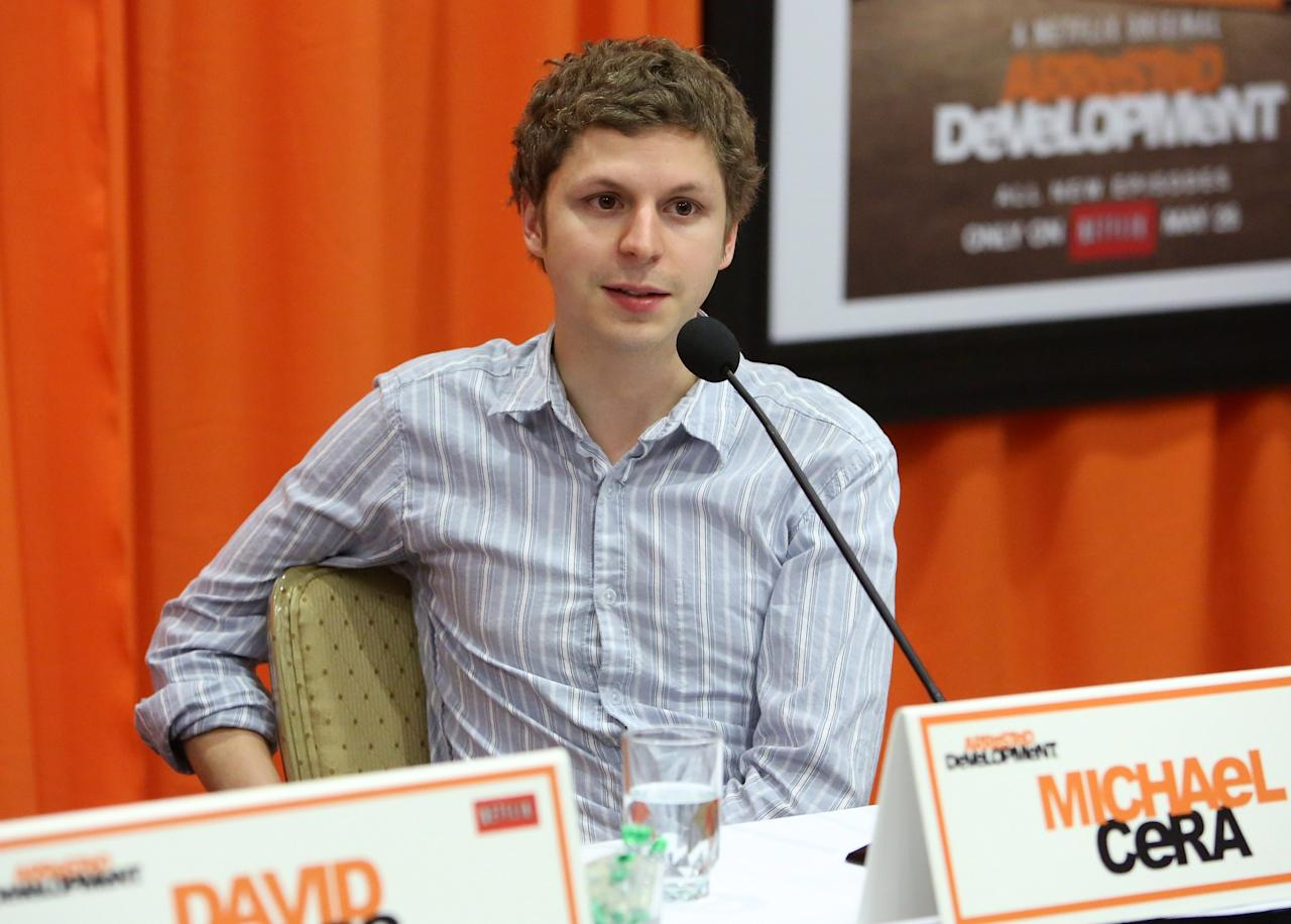 "UNIVERSAL CITY, CA - MAY 04: Actors Michael Cera attends The Netflix Original Series ""Arrested Development"" Press Conference at Sheraton Universal on May 4, 2013 in Universal City, California.  (Photo by Jesse Grant/Getty Images for Netflix)"