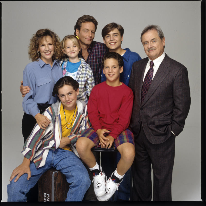 BOY MEETS WORLD - Gallery - Shoot Date: July 29, 1993. (Photo by Walt Disney Television via Getty Images Photo Archives/Walt Disney Television via Getty Images) L-R: BETSY RANDLE;RIDER STRONG;LILY NICKSAY;WILLIAM RUSS;BEN SAVAGE;WILL FRIEDLE;WILLIAM DANIELS