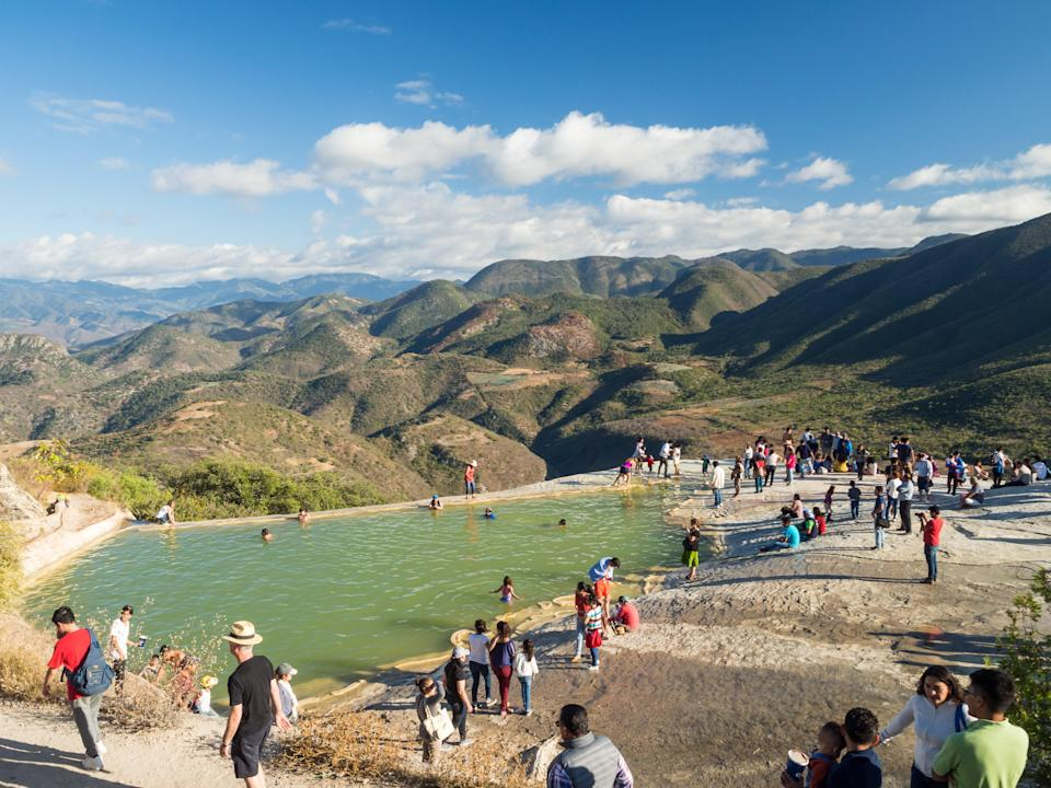 Tourists atop Hierve el Agua in January, 2018
