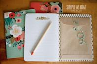 """<p>Your planner might be filled with tidy to-do lists, but somehow receipts, mail and other scraps always end up at the bottom your purse. Glue an envelope inside the cover of your go-to notebook to create a place you can hide loose papers that you need to keep.</p><p><a href=""""http://simpleasthatblog.com/2012/05/diy-travel-notebook-with-pocket.html"""" rel=""""nofollow noopener"""" target=""""_blank"""" data-ylk=""""slk:See more at Simple As That »"""" class=""""link rapid-noclick-resp""""><em>See more at Simple As That »</em></a></p>"""
