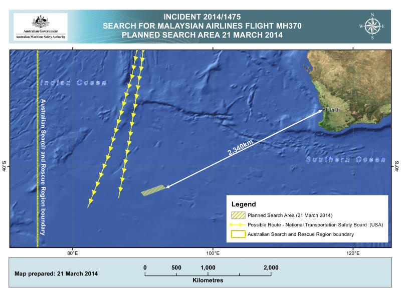 This Friday, March 21, 2014 graphic provided by Australian Maritime Safety Authority (AMSA), shows an area in the southern Indian Ocean that the AMSA is concentrating its search for the missing Malaysia Airlines Flight MH370 on. Planes are flying out of Australia again to search for two objects detected by satellite that may be debris from a missing Malaysian Airlines jetliner. (AP Photo/Australian Maritime Safety Authority)