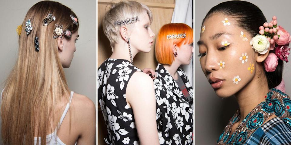 <p>Toga, Ashley Williams, and Tata Naka all showed their unique take on fall hair accessories. The first showed how gorgeous baubles look when piled on with abandon, while the second upgraded last season's Boys and Girls pins to something a little more fitting for the direction 2017 seems to be going in. And the only thing capable of topping Tata Naka's real floral decor is a face full of hand-painted flowers.</p>