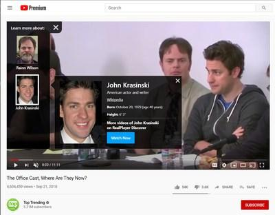 StarSearch by Real web extension_example of Who's That bio card of celebrity John Krasinski in The Office.