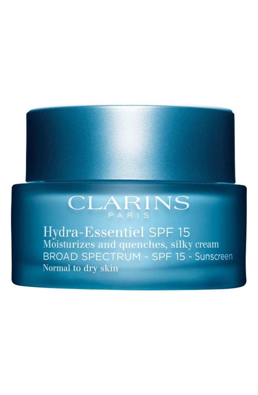 """<p>If you have dry skin, you need extra hydration even in the Summer. <a href=""""https://www.popsugar.com/buy/Clarins-Hydra-Essentiel-Silk-Cream-SPF-15-329849?p_name=Clarins%20Hydra-Essentiel%20Silk%20Cream%20SPF%2015&retailer=shop.nordstrom.com&pid=329849&price=48&evar1=bella%3Aus&evar9=46158385&evar98=https%3A%2F%2Fwww.popsugar.com%2Fbeauty%2Fphoto-gallery%2F46158385%2Fimage%2F46160531%2FClarins-Hydra-Essentiel-Silk-Cream-SPF-15&list1=shopping%2Cbeauty%20products%2Cspf%2Csunscreen%2Cmoisturizer%2Csummer%20beauty%2Cbeauty%20shopping%2Cface%20cream%2Cbeauty%20trends%2Cskin%20care&prop13=mobile&pdata=1"""" class=""""link rapid-noclick-resp"""" rel=""""nofollow noopener"""" target=""""_blank"""" data-ylk=""""slk:Clarins Hydra-Essentiel Silk Cream SPF 15"""">Clarins Hydra-Essentiel Silk Cream SPF 15</a> ($48) isn't too heavy but seriously nourishes dry skin. </p>"""