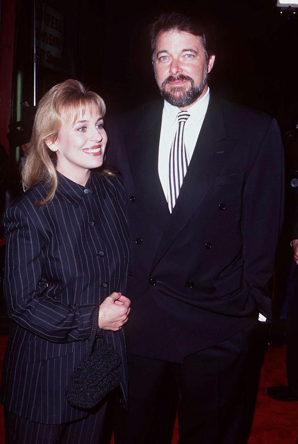 <p>Jonathan Frakes (William Riker, <i>The Next Generation</i>) and wife Genie Francis (<i>General Hospital</i>) attend the premiere. Frakes would voice William Riker again for the <i>Family Guy </i>videogame, <i>Family Guy: The Quest for Stuff</i>. <i>(Photo: Steve Granitz/WireImage)</i></p>