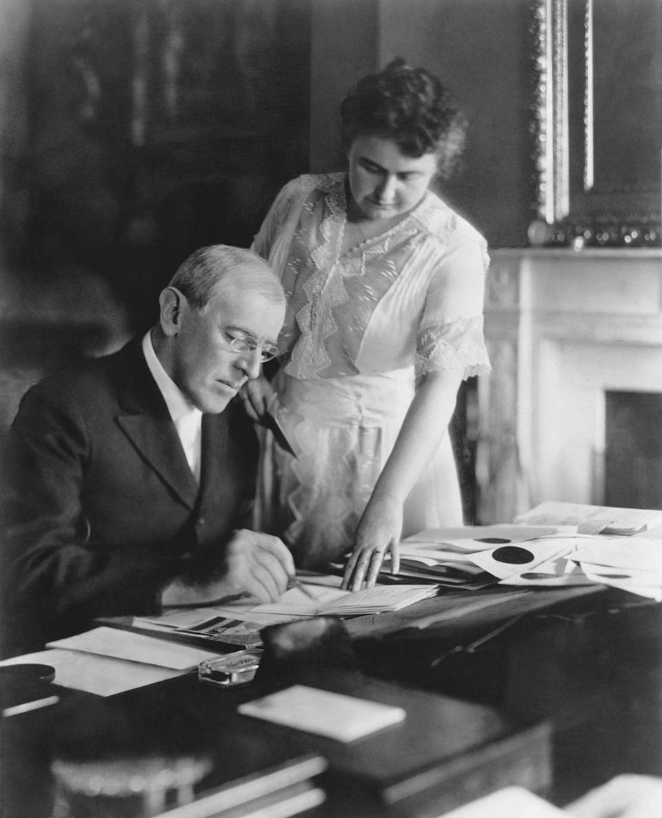 "<p>Woodrow Wilson's second wife mainly wore dark dresses, often with lace, but they were still highly fashionable. Most of her items <a href=""https://americanhistory.si.edu/firstladies-interactive/the-fashionable-first-lady-text.html"" rel=""nofollow noopener"" target=""_blank"" data-ylk=""slk:came from"" class=""link rapid-noclick-resp"">came from</a> the House of Worth in Paris.</p>"