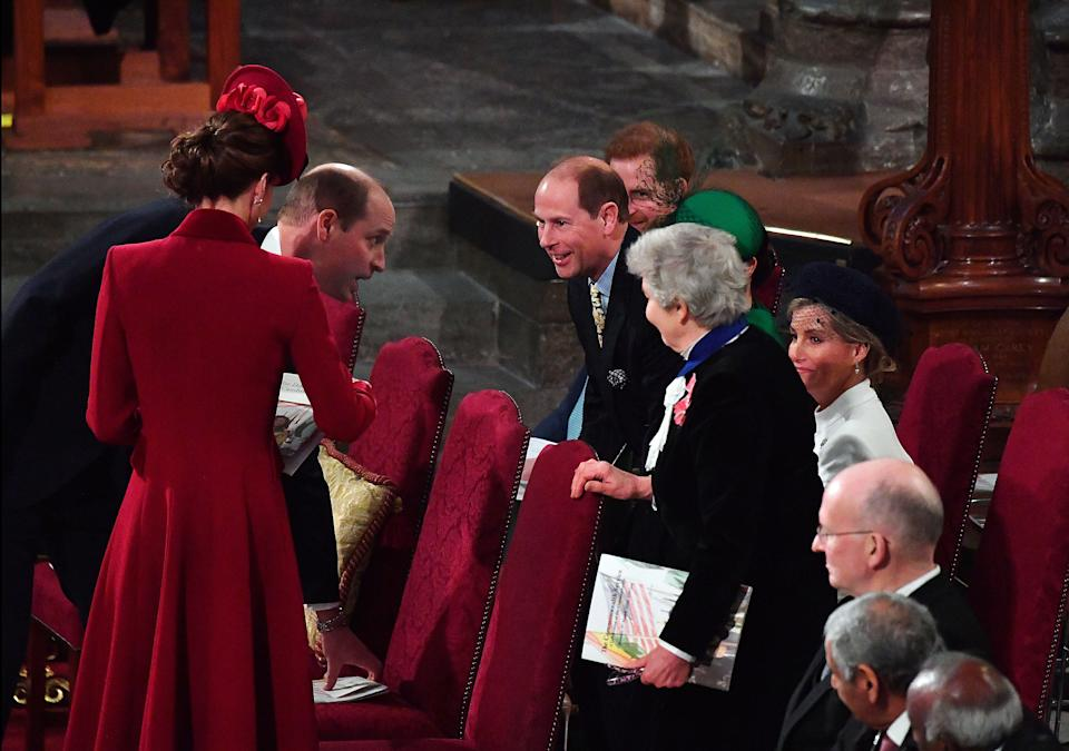 Britain's Prince William, Duke of Cambridge (2nd L) chats with Britain's Prince Edward, Earl of Wessex (C)  inside Westminster Abbey as they attend the annual Commonwealth Service in London on March 9, 2020. - Britain's Queen Elizabeth II has been the Head of the Commonwealth throughout her reign. Organised by the Royal Commonwealth Society, the Service is the largest annual inter-faith gathering in the United Kingdom. (Photo by Phil Harris / POOL / AFP) (Photo by PHIL HARRIS/POOL/AFP via Getty Images)