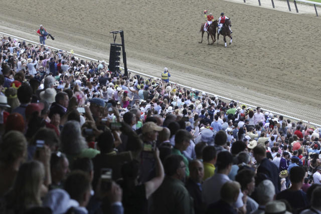 Justify, with jockey Mike Smith up, parades along the track after winning the Triple Crown at the 150th running of the Belmont Stakes horse race, Saturday, June 9, 2018, in Elmont, N.Y. (AP Photo/Mel Evans)