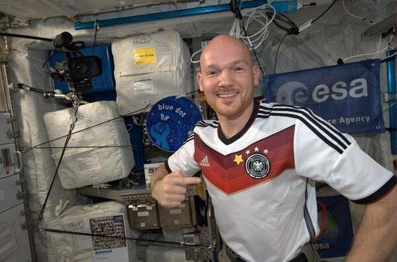 ESA's Alexander Gerst sewed another star representing a World Cup win onto his German jersey after the country's team won the 2014 FIFA tournament.