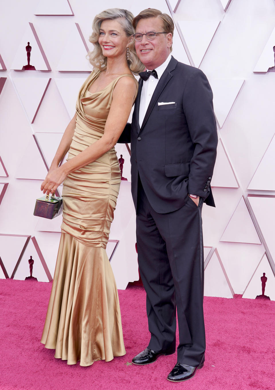 Paulina Porizkova and Aaron Sorkin attend the 93rd Annual Academy Awards at Union Station in Los Angeles. (Getty Images)