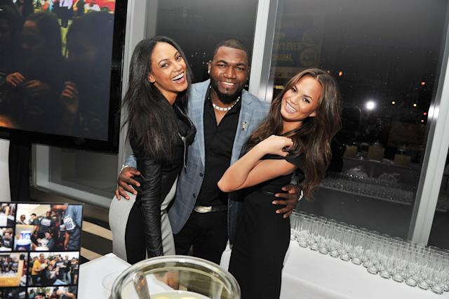 NEW YORK, NY - DECEMBER 06: Models Chrissy Teigen and Ariel Meredith pose with MLB player and former Sportsman of the Year David Ortiz at the 2011 Sports Illustrated Sportsman of the Year award presentation at The IAC Building on December 6, 2011 in New York City. (Photo by Stephen Lovekin/Getty Images)
