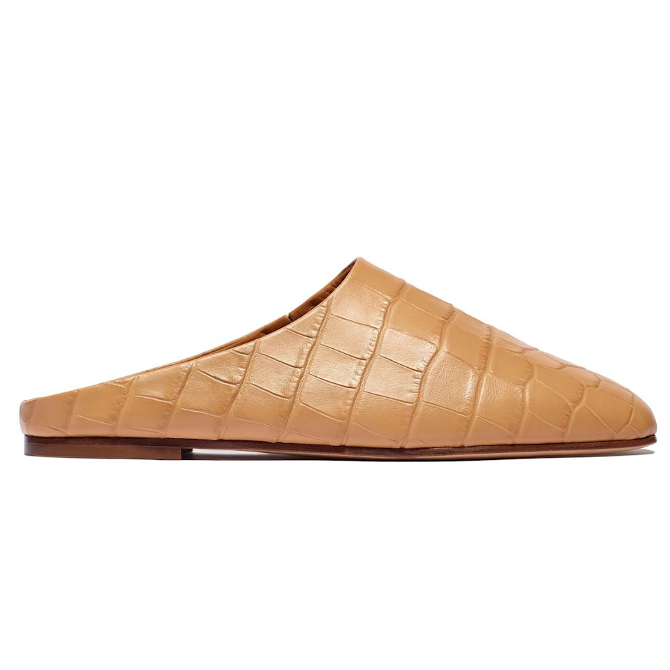 """<p><strong></strong></p><p>emmeparsons.com</p><p><strong>$435.00</strong></p><p><a href=""""https://www.emmeparsons.com/collections/flats/products/glider-in-tan-embossed-croc"""" target=""""_blank"""">Shop Now</a></p><p>A good slide will take you from casual morning walks, to the office, and any occasion in between. The tan embossed croc on these is elegant, but the shape of the shoe ensures that your look is seamless from head to toe. Wear these until it's time to whip out your <a href=""""https://www.emmeparsons.com/collections/sandals/products/susan-slingback-in-black-suede"""" target=""""_blank"""">Susan </a>slide sandals. </p>"""