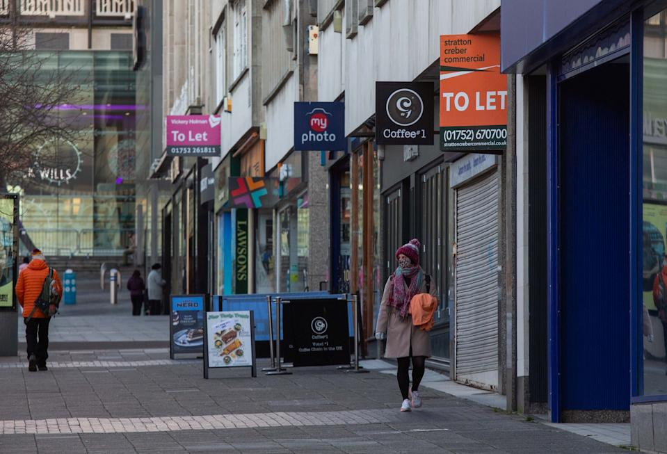 Shops in Plymouth city centre were mostly closed on Tuesday morning. (SWNS)