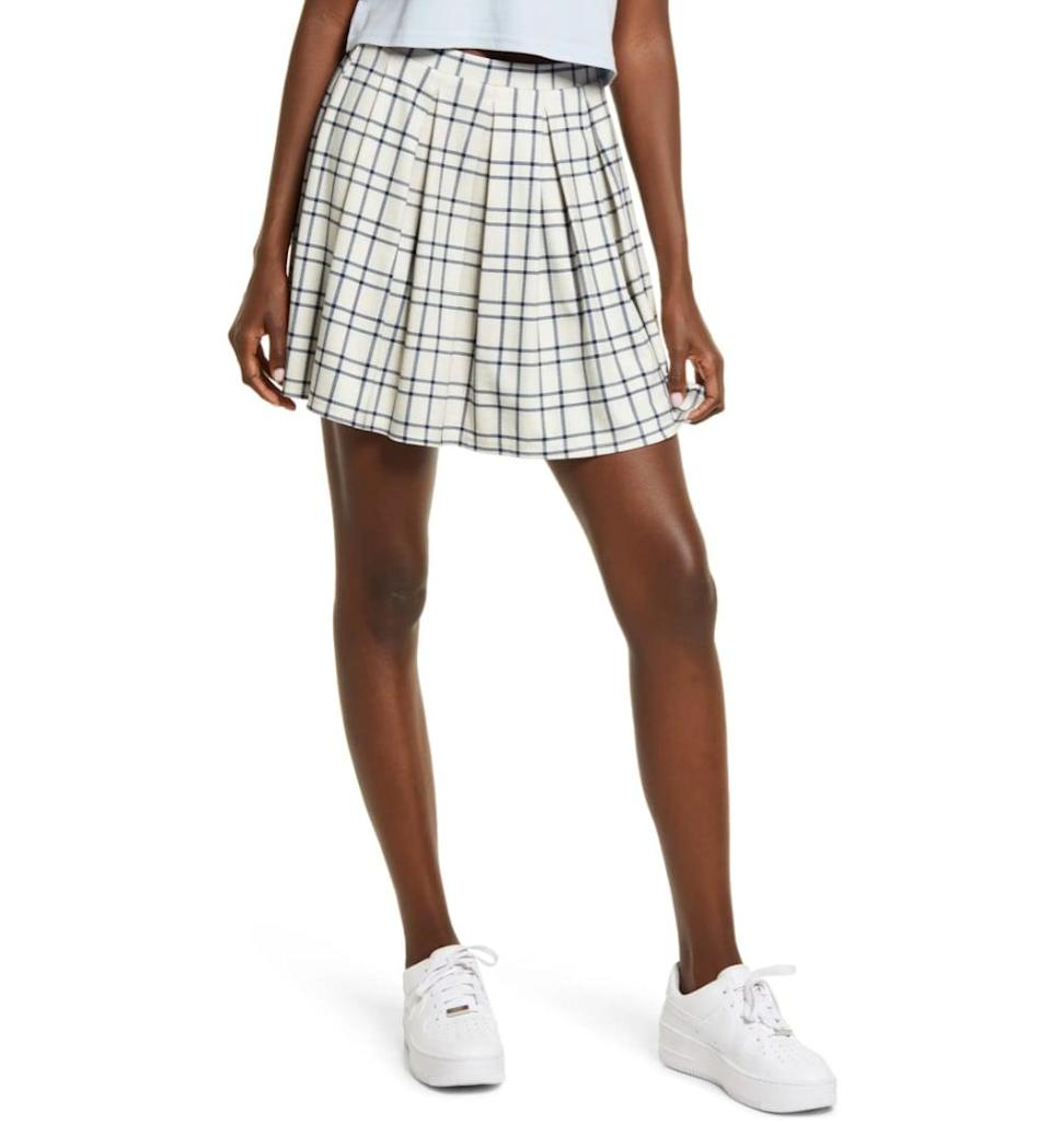<p>Summer might be over, but you don't need to swear off miniskirts. This <span>BP. Amanda Tennis Miniskirt</span> ($39) will look cute <em>and</em> fall-friendly with tights and a chunky sweater.</p>