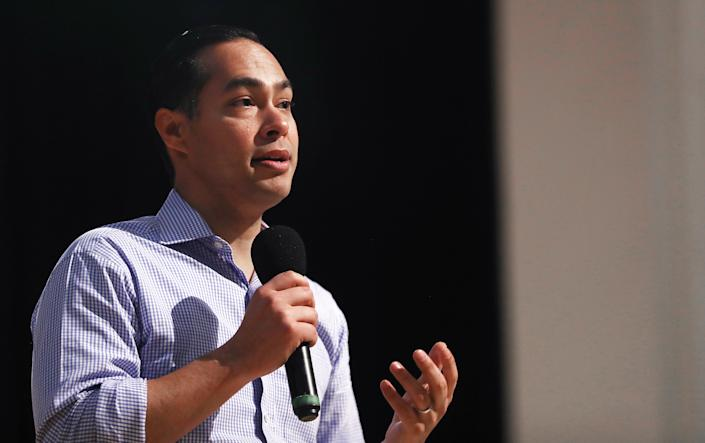 Democratic presidential candidate Julian Castro speaks at a campaign appearance at Bell Gardens High School, in Los Angeles county, on March 4, 2019 in Bell Gardens, California. | Mario Tama—Getty Images