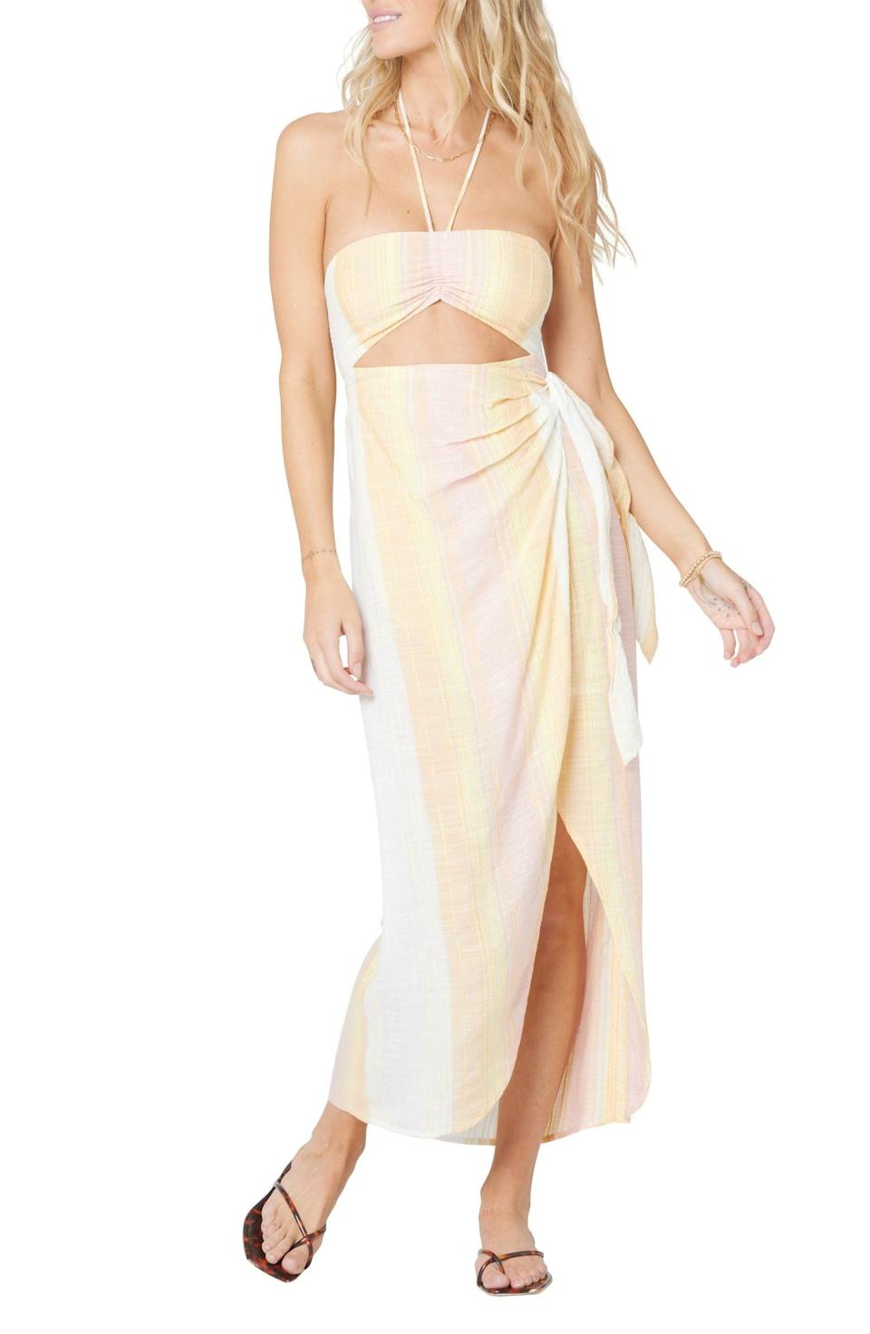 <p>This <span>L*Space Alixandria Cutout Faux Wrap Cover-Up Dress</span> ($132) will hug you in all the right places.</p>