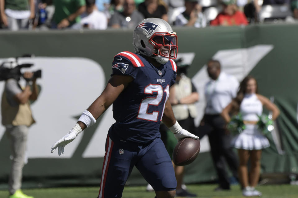 New England Patriots' Adrian Phillips celebrates his interception during the first half of an NFL football game against the New England Patriots, Sunday, Sept. 19, 2021, in East Rutherford, N.J. (AP Photo/Bill Kostroun)