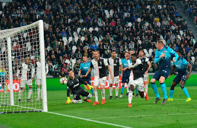 Atalanta's Josip Ilicic scores during the Italian Serie A soccer match Juventus FC and Atalanta BC at the Allianz Stadium in Turin, Italy, Sunday May 19, 2019. (Alessandro Di Marco/ANSA via AP)