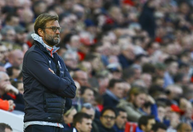 Liverpool's manager Jurgen Klopp watches from the touchline during their English Premier League match against Crystal Palace, at Anfield in Liverpool, on April 23, 2017