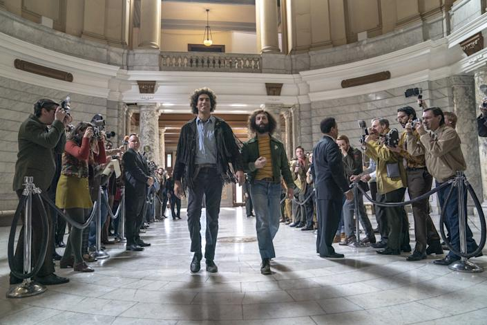 """Sacha Baron Cohen and Jeremy Strong in the movie """"The Trial of the Chicago 7."""""""