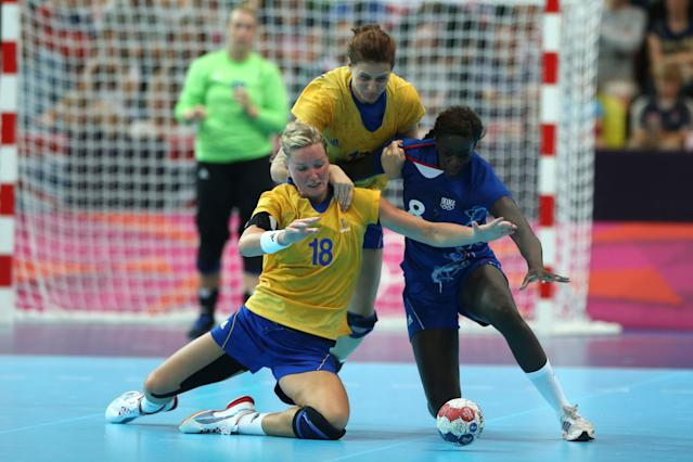 Even handball players are getting in on the trend. Wiberg wears a strip from her knee to her groin each match. (Photo: Jeff Gross/Getty Images)