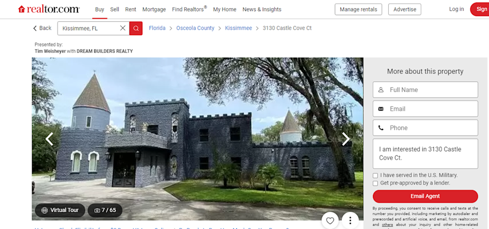 A castle in Kissimmee, Florida, is on sale.