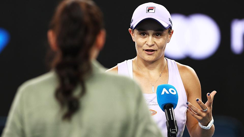 Ashleigh Barty, pictured here chatting to Casey Dellacqua at the Australian Open.