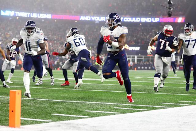 Derrick Henry had a monster game for the Titans in New England. (Photo by Adam Glanzman/Getty Images)