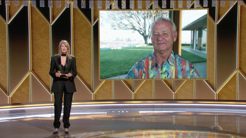 UNSPECIFIED: 78th Annual GOLDEN GLOBE AWARDS -- Pictured in this screengrab released on February 28, (l-r) Laura Dern and Bill Murray speak onstage at the 78th Annual Golden Globe Awards broadcast on February 28, 2021. --  (Photo by NBC/NBCU Photo Bank via Getty Images)