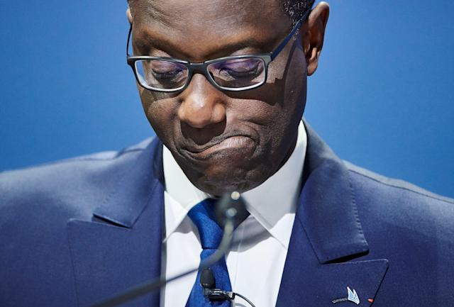 Tidjane Thiam, Credit Suisse chief executive, delivering a speech during the annual shareholders' meeting of the Swiss banking group on 28 April 2017 in Zurich. (Michael Buholzer/AFP via Getty)