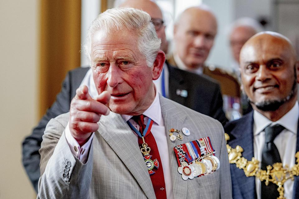 Britain's Prince Charles, makes a gesture during the inauguration of the St Eusebius Church tower that has been restored on September 21, 2019 in Arnhem as part of commemorations of the 75th anniversary of 'Operation Market Garden' in September 1944, which marked the beginning of the liberation of the Netherlands. (Photo by Robin UTRECHT / ANP / AFP) / Netherlands OUT        (Photo credit should read ROBIN UTRECHT/AFP/Getty Images)