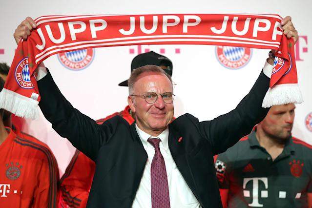 Soccer Football - DFB Cup Final - Bayern Munich vs Eintracht Frankfurt - Berlin, Germany - May 19, 2018. Bayern Munich CEO Karl-Heinz Rummenigge attends a reception after the match. Picture taken May 19, 2018. Alexander Hassenstein/Pool via Reuters