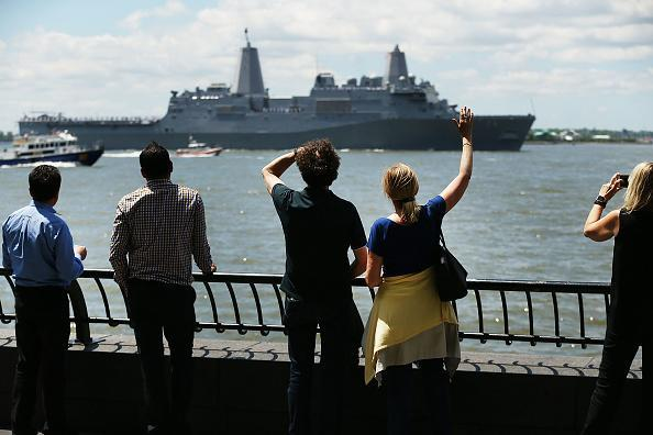 The Norfolk-based USS Arlington joins the Parade of Ships as it makes its way past the Statue of Liberty on the opening day of Fleet Week on May 23, 2018 in New York City. Now in its 30th year, Fleet Week brings more than 3,700 U.S. and Canadian service members to Manhattan through Memorial Day. (Photo by Spencer Platt/Getty Images)