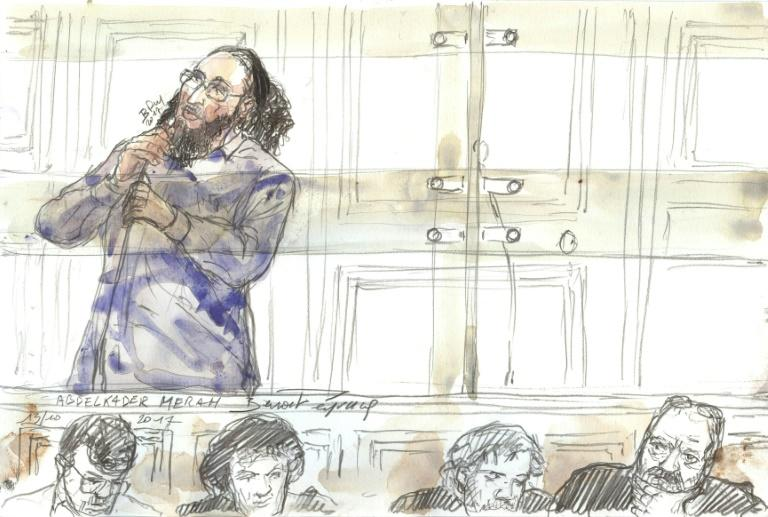 A court sketch made on October 13, 2017 in a Paris courthouse shows Abdelkader Merah gesturing during his trial for complicity in the series of shootings committed by his brother Mohamed in Toulouse and Montauban in 2012