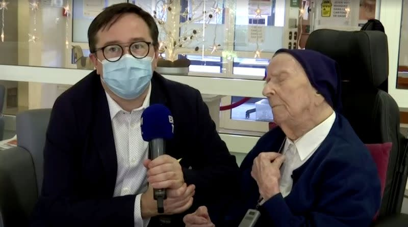 Europe's oldest person, 117-year-old nun Lucile Randon, also known as Sister Andre, who survived the coronavirus disease (COVID-19), is interviewed in Toulon