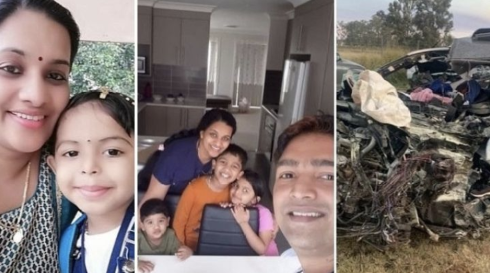 The family are pictured alongside a photo of the car accident.
