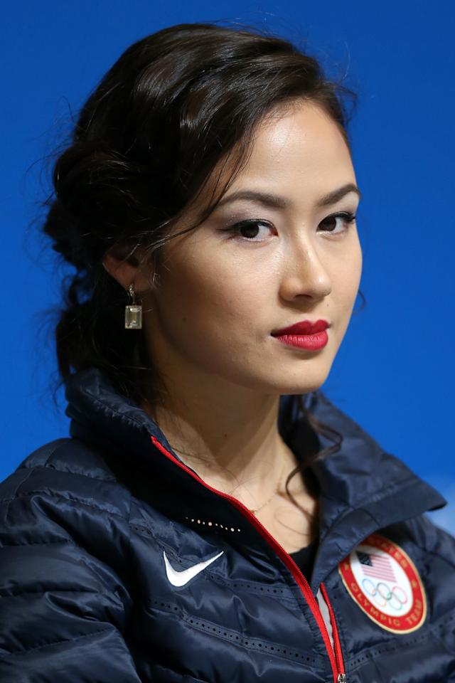 SOCHI, RUSSIA - FEBRUARY 14: Madison Chock of the United States attends a Team USA press conference during Day 7 of the Sochi 2014 Winter Olympics at the Main Press Center (MPC) on February 14, 2014 in Sochi, Russia. (Photo by Matthew Stockman/Getty Images)