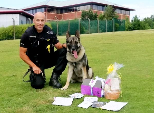 On the mend: Audi's handler PC Karl Mander, pictured, said the dog did not seem to have suffered lasting damage
