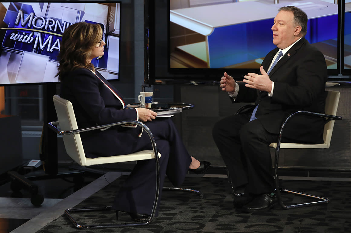 U.S. Secretary of State Mike Pompeo is interviewed by Maria Bartiromo during her