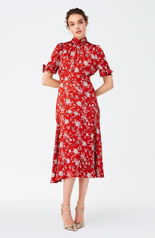 """<p>The high neckline on this <a href=""""https://www.popsugar.com/buy/Chelsea28-Floral-Satin-Midi-Dress-476078?p_name=Chelsea28%20Floral%20Satin%20Midi%20Dress&retailer=shop.nordstrom.com&pid=476078&price=149&evar1=fab%3Aus&evar9=45873724&evar98=https%3A%2F%2Fwww.popsugar.com%2Ffashion%2Fphoto-gallery%2F45873724%2Fimage%2F46542214%2FChelsea28-Floral-Satin-Midi-Dress&list1=shopping%2Cdresses%2Cspring%2Cflorals%2Cspring%20fashion&prop13=mobile&pdata=1"""" rel=""""nofollow"""" data-shoppable-link=""""1"""" target=""""_blank"""" class=""""ga-track"""" data-ga-category=""""Related"""" data-ga-label=""""https://shop.nordstrom.com/s/chelsea28-floral-satin-midi-dress/5273110?origin=category-personalizedsort&amp;breadcrumb=Home%2FWomen%2FAll%20Women&amp;color=orange%20floral"""" data-ga-action=""""In-Line Links"""">Chelsea28 Floral Satin Midi Dress</a> ($149) is so pretty. </p>"""