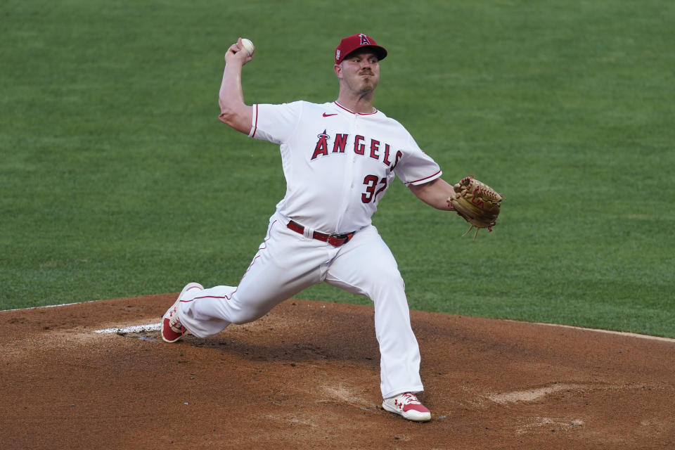 Los Angeles Angels starting pitcher Dylan Bundy (37) throws during the first inning of a baseball game against the Los Angeles Dodgers Saturday, May 8, 2021, in Anaheim, Calif. (AP Photo/Ashley Landis)