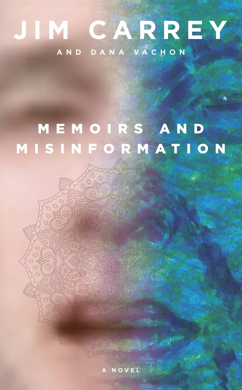 """Book jacket for """"Memoirs and Misinformation"""" by Jim Carrey and Dana Vachon."""