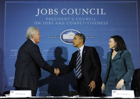 U.S. President Barack Obama shakes hands with council chairman, General Electric CEO Jeffrey Immelt, after a meeting of the President's Council on Jobs and Competitiveness in Pittsburgh
