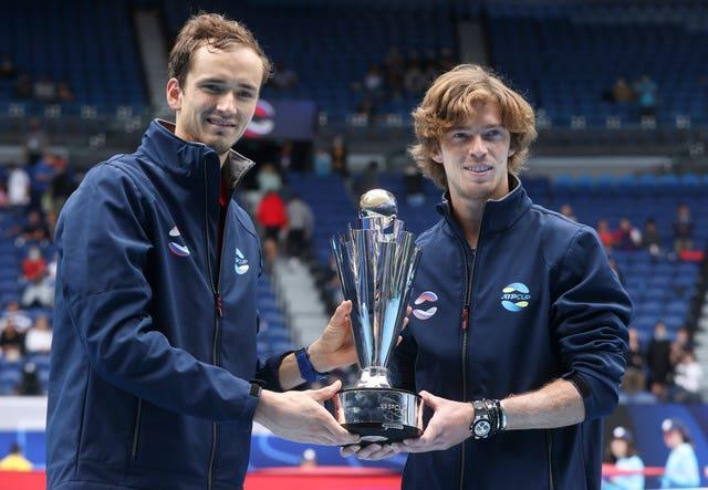 Daniil Medvedev, left, and Andrey Rublev won the ATP Cup together earlier this month