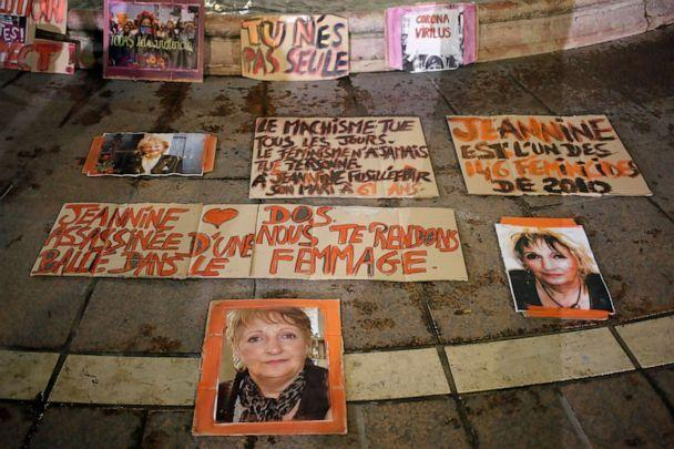 PHOTO: Posters of women victims of domestic violence are pictured at the Saint Michel fountain, Nov. 25, 2020, in Paris. (Francois Mori/AP, FILE)